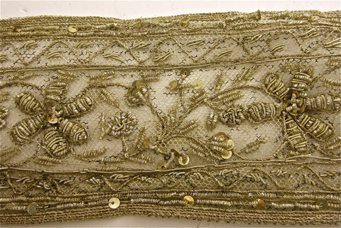 Trim Vintage Bullion with Flowers Very Detailed 3""