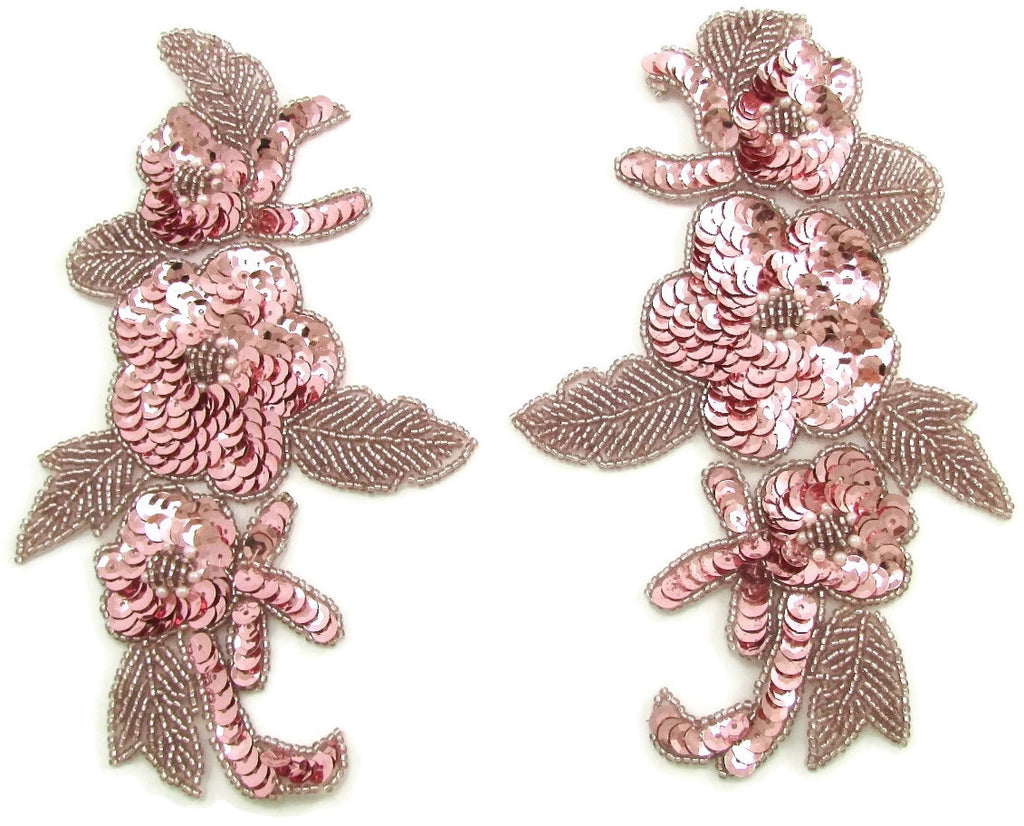 "Flower Pair with Pink Sequins and Beads  7.5"" x 4.5"""