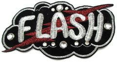 "Flash! Embroidered Applique with Word Flash and Lightening Bolt 5"" x 10"""