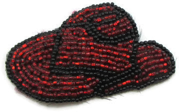 "Hat Cowboy with Red and Black Beads 1.5"" x 3"""