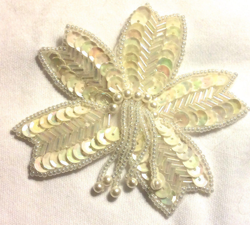 "Epaulet with Iridescent sequins and Beads 3/5"" x 3"""