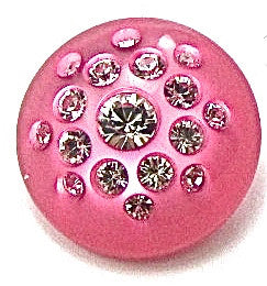 Button Fuchsia with Rhinestones 3/4""