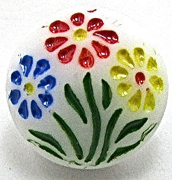 Button White Glass with Flowers 3/8""