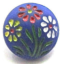 Button Blue with Flowers 1/2""