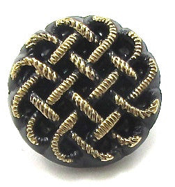 Button with Basket Weave Black with Gold Trim 5/8""