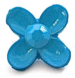 Button Turquoise Flower 3/4""
