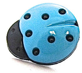 Button Ladybug with Turquoise and Black 1/2""