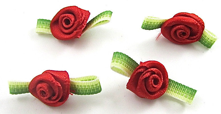 Flower Set of Four with Red Roses 1""