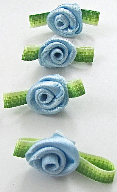 Flower Set of Four Blue and Green Satin 1""