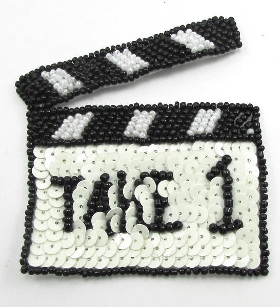 "TAKE 1 Movie Clapperboard with Black and White Sequins and Beads 4"" x 3"""