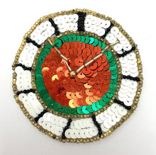 Load image into Gallery viewer, Clock MultiColored Sequins and Beads 3""