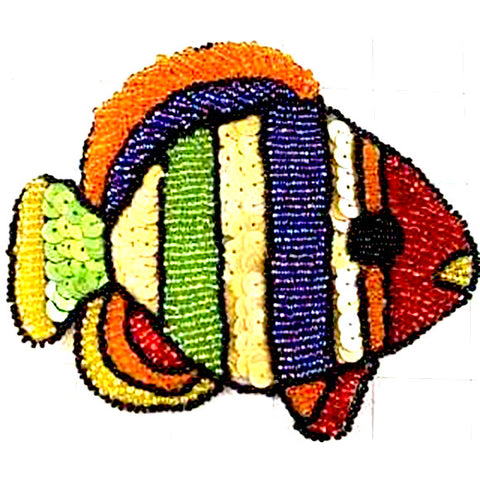 "Fish with Multi-Colored sequins and Beads 5"" x 5"""