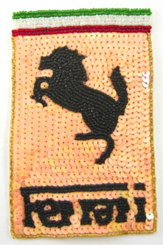 "Ferrari Patch with Peach Sequins and Beads 5.5"" x 3.5"""