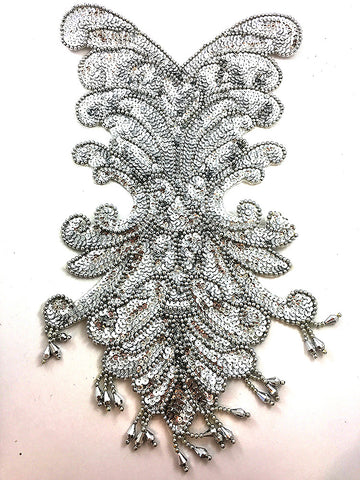 SEQUIN BEADED LEAF APPLIQUE 2452-H