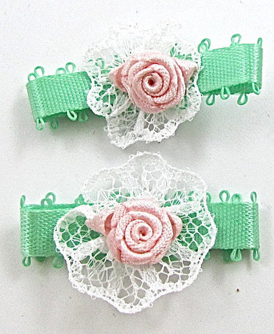 Flower Pink and Light Green Embroidered set of Two 1.25""
