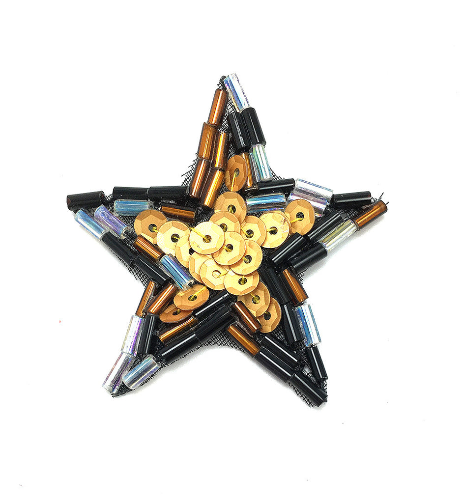 Star with Multi-Colors Bronze Brown Sequin Beaded 1.5""