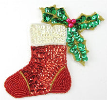 "Load image into Gallery viewer, Christmas Stocking with Holly,  4.5"" x 5"""
