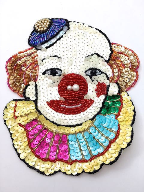 "Clown Face with Hat and Multi-Colored Sequins and Beads 7.5"" x 6"""