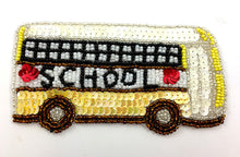 "Load image into Gallery viewer, School Bus Yellow, White, Black Sequin Beaded 2.5"" x 5"""