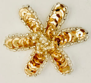"Flower Gold Sequin and Beads Two Styles  2"" x 2"""