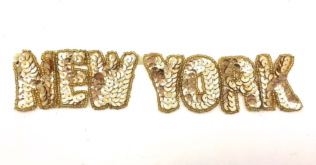 "New York Word with Gold Sequins and Beads 9"" x 2"""