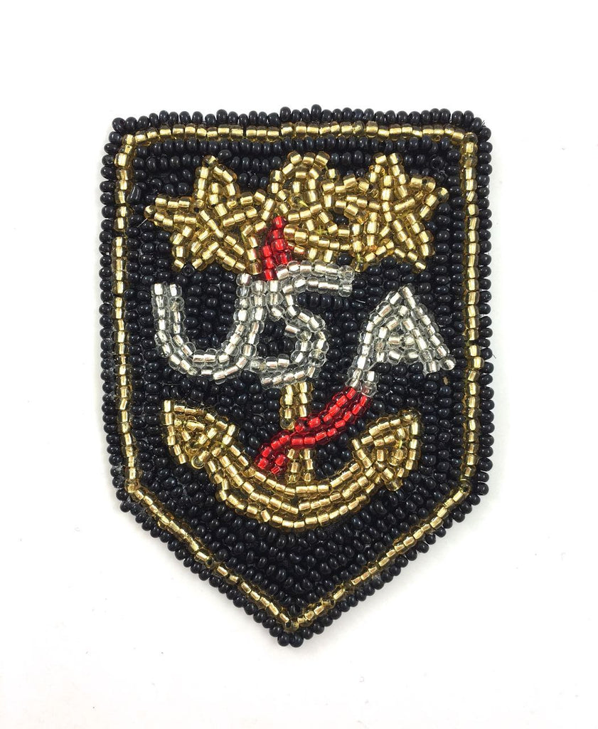 "Anchor USA Patch with Black, Gold, Silver and Red Beads  3"" x 2"" - Sequinappliques.com"