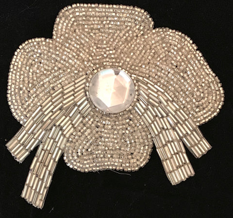 "Silver Flower with all beads and gem in center 4.5"" x 4.5"""