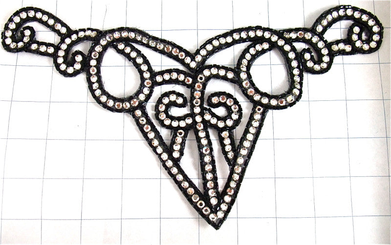 "Designer Motif Neck Line with Black Beads and High Quality Rhinestones 5"" x 10.5"""