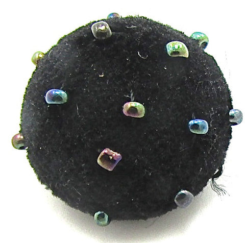 Button with Black Velvet and Multi-Colored Beads 1""