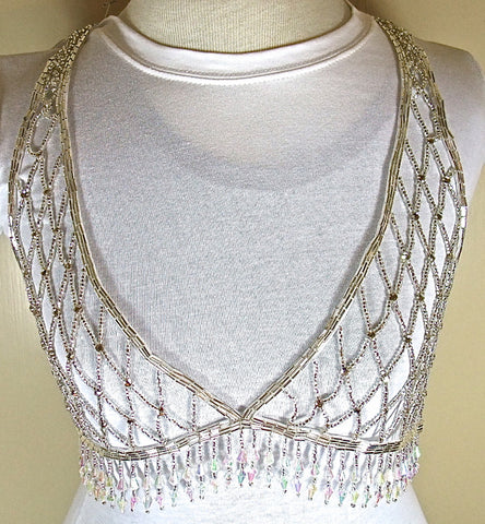 Designer Bra Bodice with Silver Beads and Fringe Small