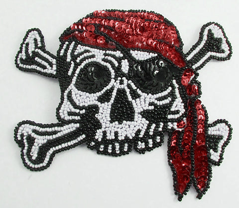 "Pirate with Skull and Bones, Black and White Beads, Red Sequins 5"" x 5"""