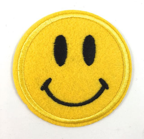 Smiley Face Emoji with Felt Face Embroidered Iron-on 2.75""
