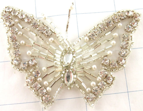 "Butterfly Silver with  Rhinestones 2.5"" x 3.5"""