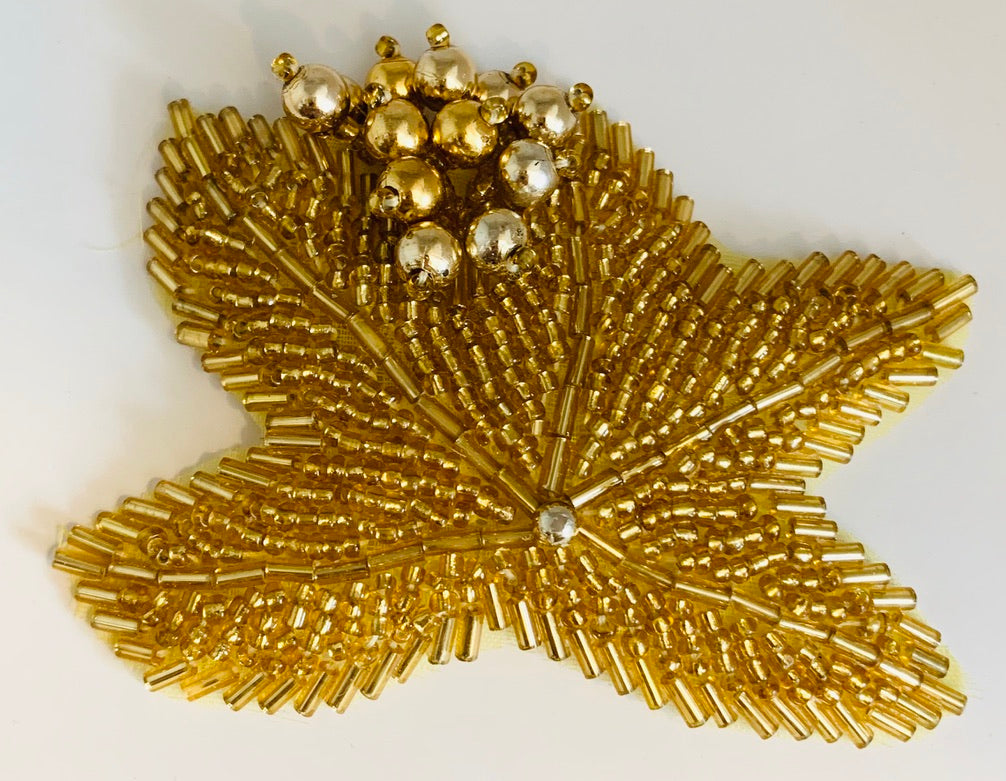 "Epaulet With Beads Gold, 3"" x 2.5"""