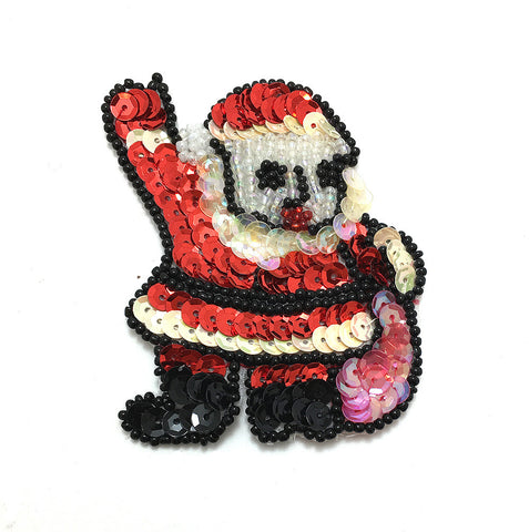 "Santa Waving with Bag of Toys Black, Red, White Sequin Beaded  3"" x 2.25"""