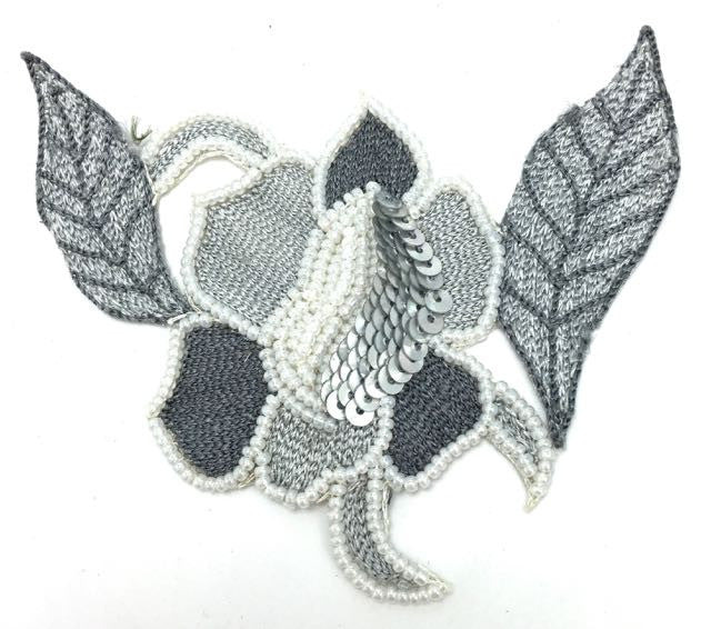 "Flower with Two-Tone Grey Embroider, Sequins and Beads  3.5""  3.5"""