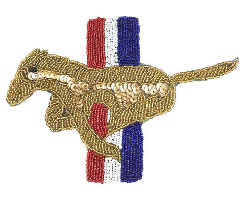 "Ford Mustang Emblem, Sequin Beaded  7"" x 5.25"""