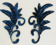 "Design Motif Leaf  with Royal Blue Sequins Single and Pair 7"" x 4"""
