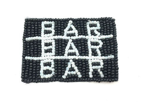 "Bar Bar Bar Slot Machine Result w/ Blk & White Beads 2.5"" x 3"""