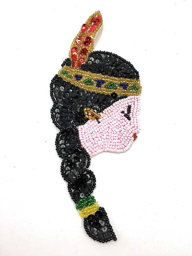"Pocahantas Native American Girl Sequin Beaded 7"" x 2.5"""
