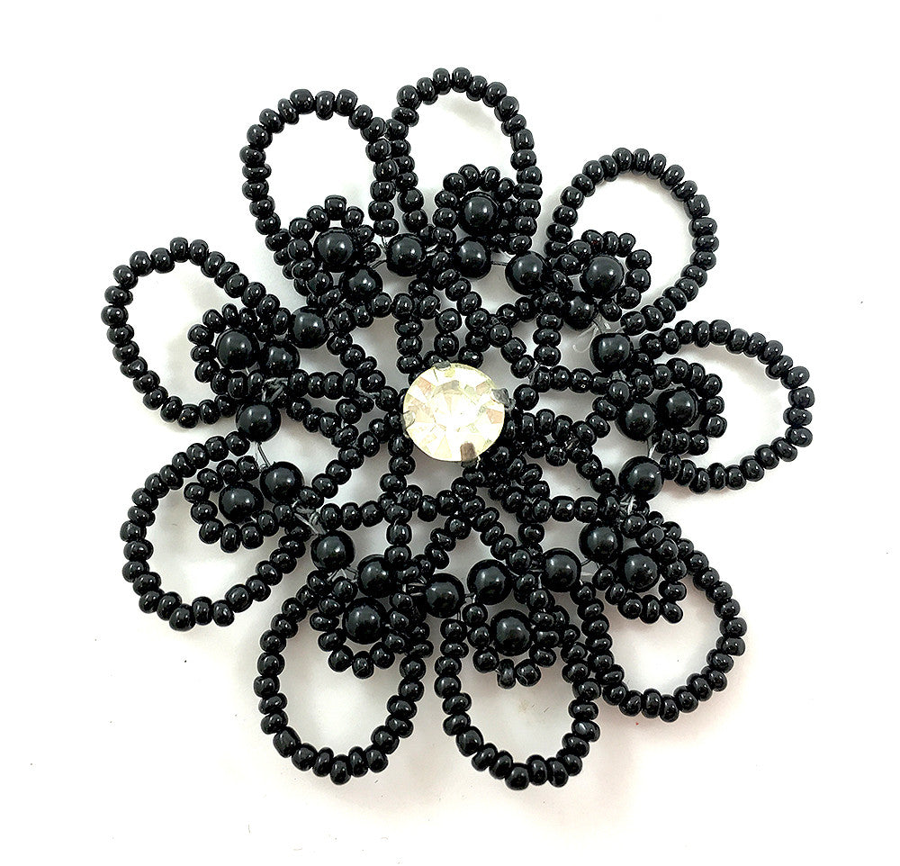 Flower Appliqué with Black Beads on Wire and Rhinestone Center  2.5""