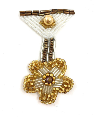 "Medal Badge Motif with Gold White Bronze and Silver Beads  2"" x 3"""