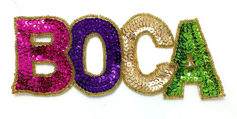 "Boca (Boca Raton, FL) Multi-Color Sequin Beaded  7"" x 3"""