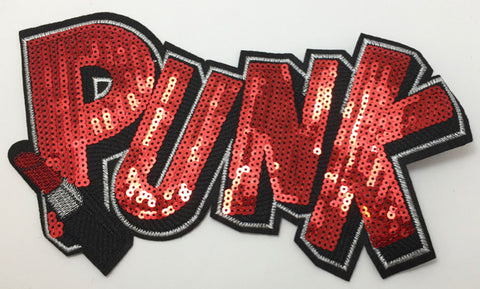 "PUNK Word with Red Sequins and Lipstick 6"" x 11"""