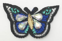 "Load image into Gallery viewer, Butterfly Embroidered with Four Rhinestones 2"" x 1.25"""