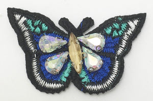 "Butterfly Embroidered with Four Rhinestones 2"" x 1.25"""