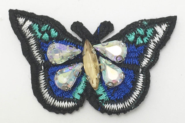 Butterfly Embroidered with Four Rhinestones 2