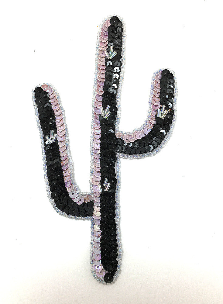 "Cactus with Lavender, Black and Silver Sequins and Beads  6"" x 3"""