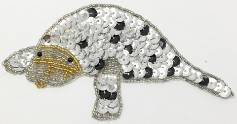 "Manatee with Silver and Black Sequins and Beads 2.5"" x 5.5"""