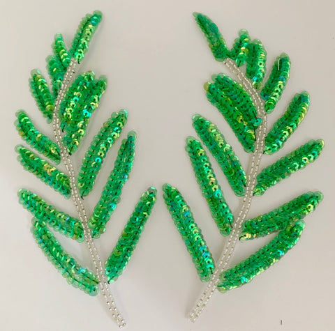 "Design Motif Leaf Pair with Lime Green Iridescent  Sequins and Beads 9"" x 3"""